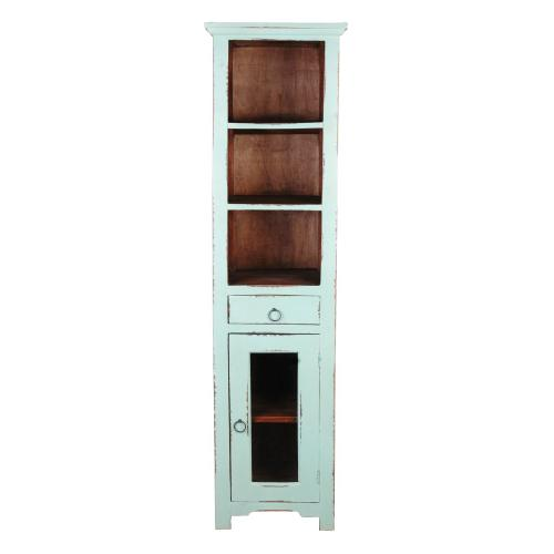 CC-CAB1924TLD-TERW  Tall Narrow Cabinet  Teal  Natural Raftwood