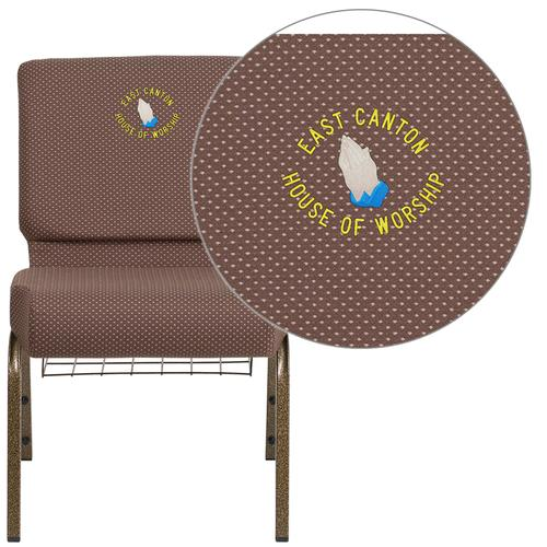 Embroidered HERCULES Series 21'' Wide Brown Dot Fabric Church Chair with 4'' Thick Seat, Book Rack - Gold Vein Frame