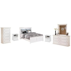 Queen Panel Bed With Mirrored Dresser, Chest and 2 Nightstands