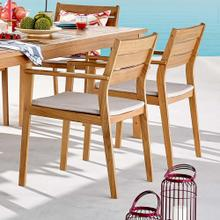 Viewscape Outdoor Patio Ash Wood Dining Armchair Set of 2 in Natural Taupe