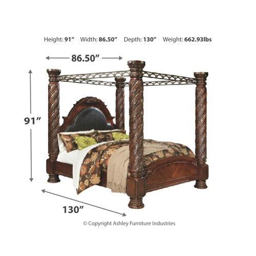 California King Poster Bed With Canopy With Mirrored Dresser