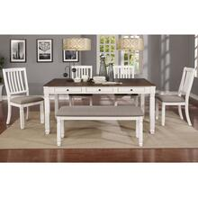 Highlands 6pc Dining Set, White/White Bench/White