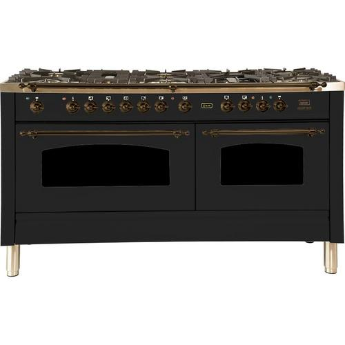 Nostalgie 60 Inch Dual Fuel Liquid Propane Freestanding Range in Matte Graphite with Bronze Trim