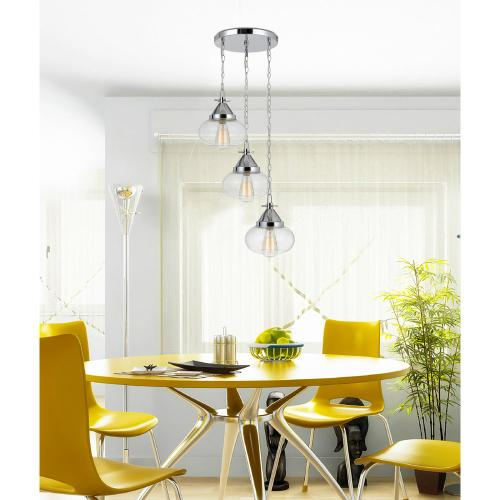 60W X 3 Maywood Glass Pendant (Edison Bulbs Not included)