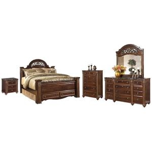 Queen Poster Bed With 2 Storage Drawers With Mirrored Dresser, Chest and Nightstand