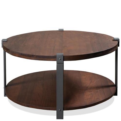Round Coffee Table - Patina Wood/black Metal Finish
