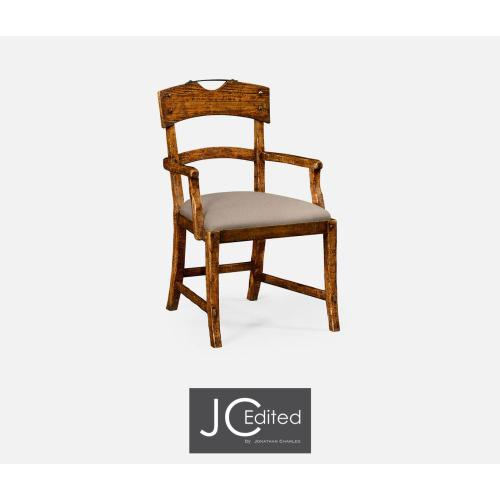 Country walnut armchair with upholstered seat