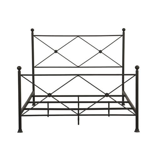 Queen Metal Poster Bed with X Accents in Iron Black
