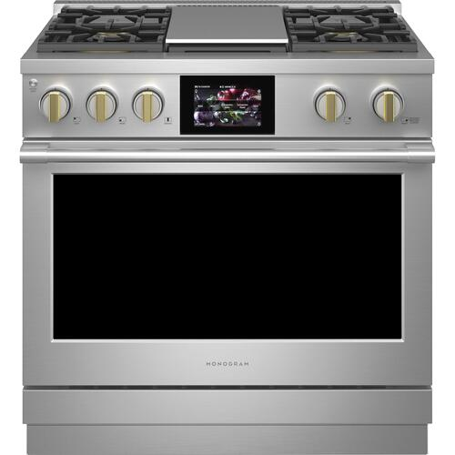 """Monogram - Monogram 36"""" Dual-Fuel Professional Range with 4 Burners and Griddle (Natural Gas)"""