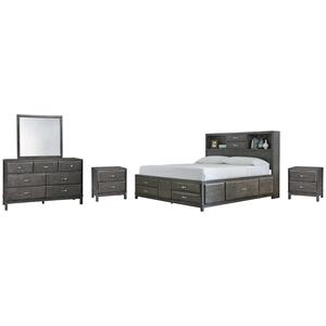 California King Storage Bed With 8 Storage Drawers With Mirrored Dresser and 2 Nightstands