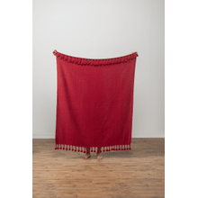 Red Throw with Pom-Poms