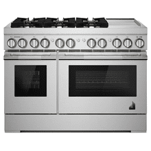 """See Details - RISE™ 48"""" Dual-Fuel Professional-Style Range with Chrome-Infused Griddle and Steam Assist"""