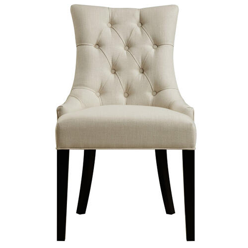 Button Tufted Upholstered Dining Chair in Celine Flour