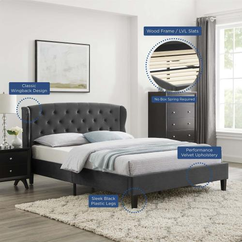 Modway - Penelope Tufted Wingback Queen Performance Velvet Platform Bed in Charcoal