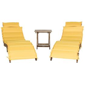 Pacifica 3 Piece Lounge Set - Teak Brown / Yellow