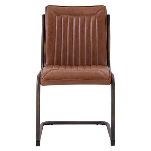 Cooper PU Chair, Rubber Gold Frame, Antique Cigar