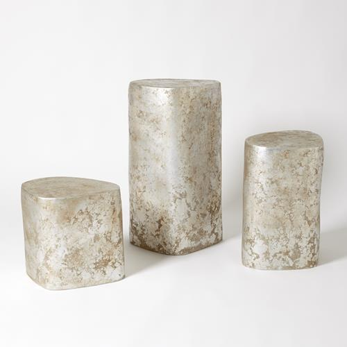 Organic Ceramic Pedestal-Silver Leaf-Lg