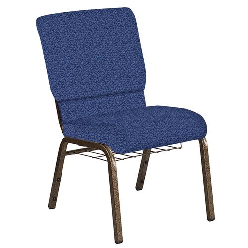 Flash Furniture - 18.5''W Church Chair in Lancaster Navy Fabric with Book Rack - Gold Vein Frame