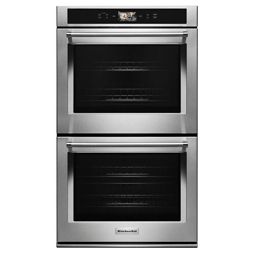 """KitchenAid - Smart Oven+ 30"""" Double Oven with Powered Attachments - Stainless Steel"""
