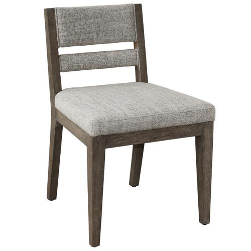 Slat Back Upholstered Side Dining Chair in Coconut Brown