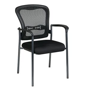 Office Star - Titanium Finish Visitors Chair With Arms and Progrid® Back