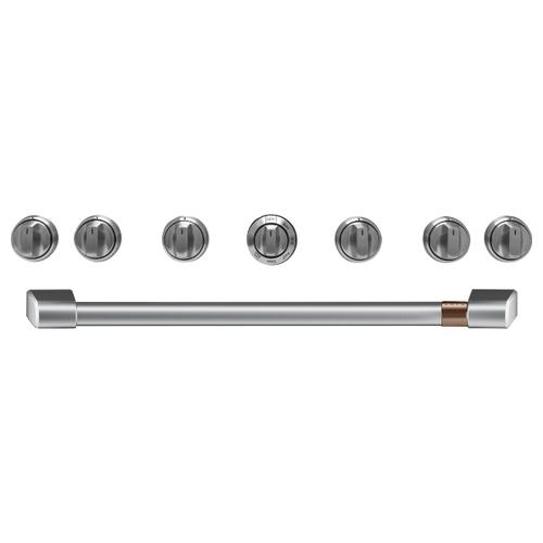 "Café 36"" Brushed Stainless Handle & Knob Set for Pro Range and Rangetop"