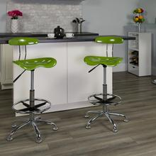 View Product - Vibrant Spicy Lime and Chrome Drafting Stool with Tractor Seat