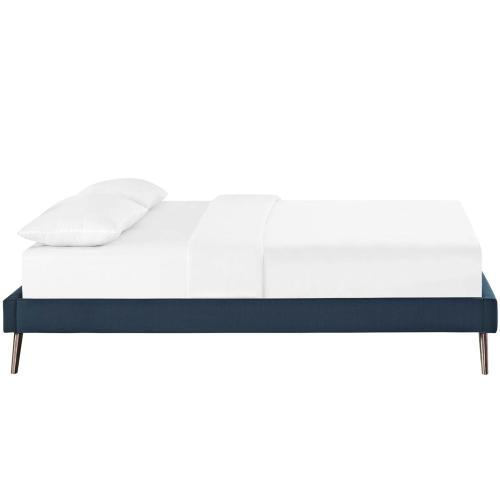 Loryn Full Fabric Bed Frame with Round Splayed Legs in Azure
