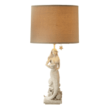 Whitewash Sitting Mermaid Table Lamp. 60W Max.