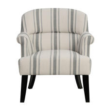 View Product - Upholstered Roll Arm Accent Chair in Cambridge Black Stripe