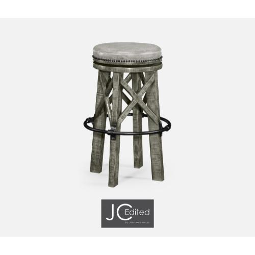Country Style Antique Dark Grey & Iron Bar Stool with Antque Chestnut Leather