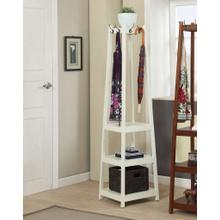 See Details - Vassen Coat Rack w/ 3-Tier Storage Shelves in White Finish