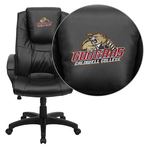 Caldwell College Cougars Embroidered Black Leather Executive Office Chair