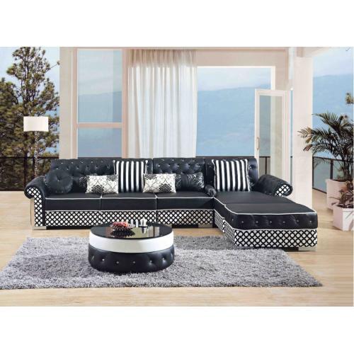 Divani Casa J608 Modern Black Bonded Leather Sectional Sofa w/ Coffee Table
