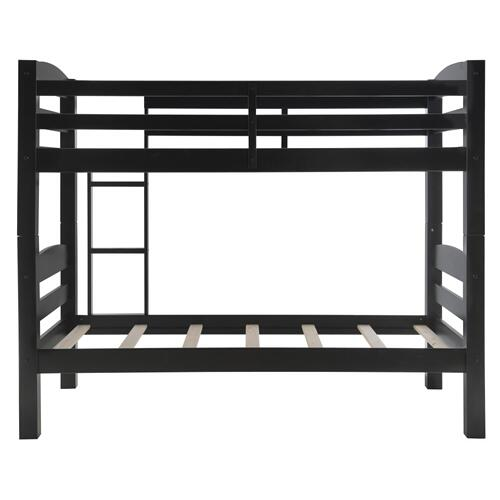 Built-in Ladder Twin Bunk Bed, Black