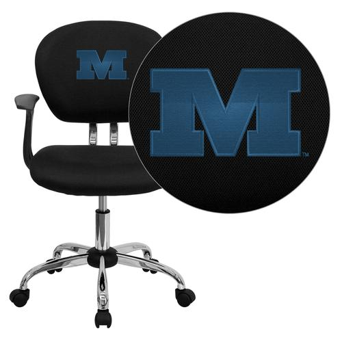 Millikin University Big Blue Embroidered Black Mesh Task Chair with Arms and Chrome Base