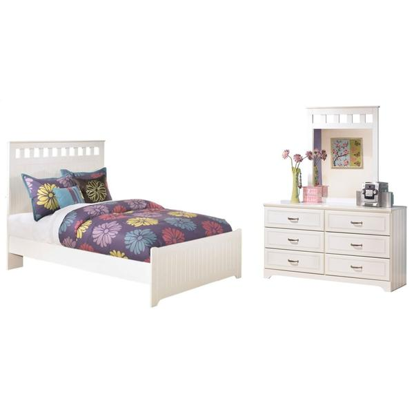 See Details - Full Panel Bed With Mirrored Dresser