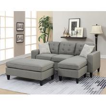 Etzel 3pc Sectional Sofa Set, Lt Grey