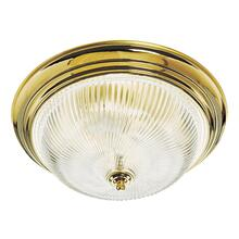 3-Light Polished Brass Ceiling Fixture with Clear Ribbed Glass #507236