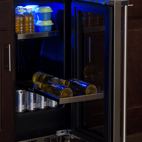 Marvel - 15-In Professional Built-In Beverage Center With Reversible Hinge with Door Style - Stainless Steel Frame Glass