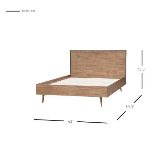 Henley KD Queen Bed Set Wooden Legs, Newton Brown (Headboard & Footboard)