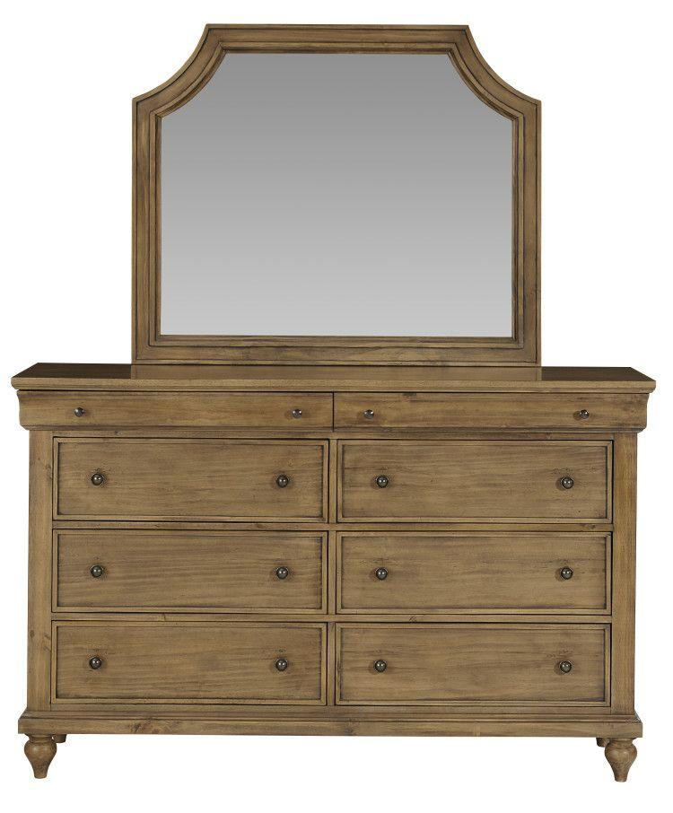 Brussels 8 Drawer Dresser with Mirror, Brown