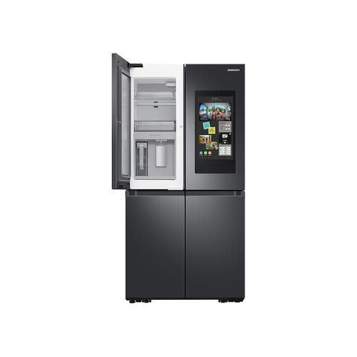 Samsung - 23 cu. ft. Smart Counter Depth 4-Door Flex™ refrigerator with Family Hub™ and Beverage Center in Black Stainless Steel