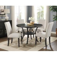 See Details - Biony Espresso Wood Dining Set with Tan Fabric Nailhead Chairs