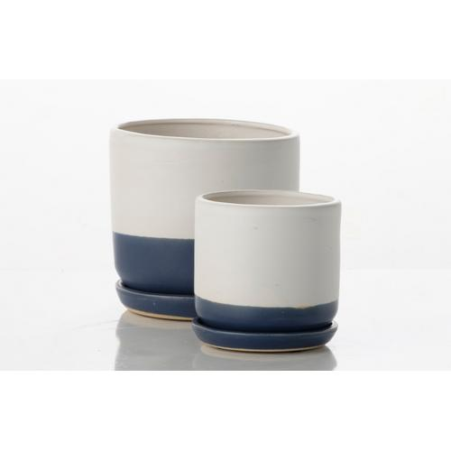 Barca Carved Petits Pots w/ attached saucer - White and Royal (set of 2)