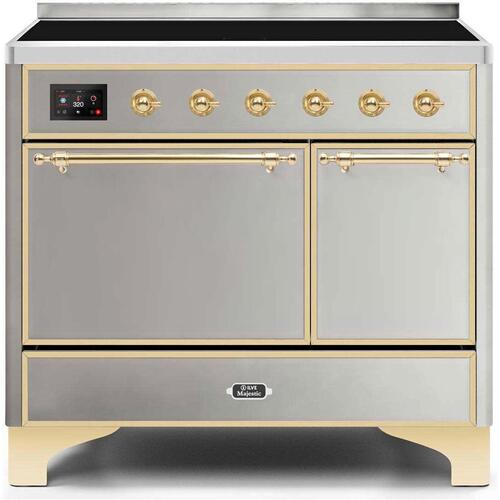 Majestic II 40 Inch Electric Freestanding Range in Stainless Steel with Brass Trim