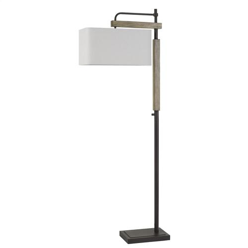 Alloa Metal/Wood Floor Lamp With Rectangular Linen Shade