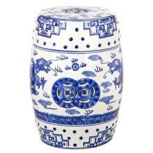 Dragon's Breath Chinoiserie Garden Stool - Blue