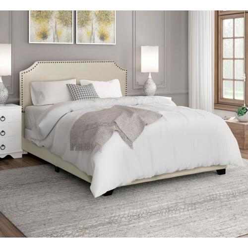 Clipped Corner King Upholstered Bed in Cream