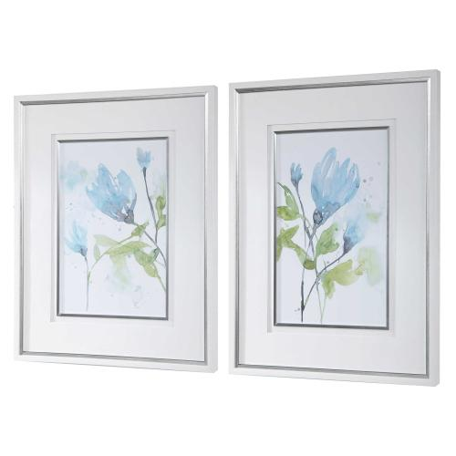 Cerulean Splash Framed Prints, S/2